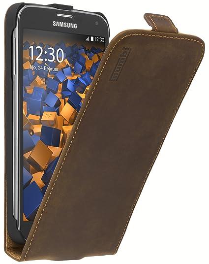 mumbi PREMIUM Vintage Leder Flip Case für Samsung Galaxy S5 / S5 Neo Tasche braun