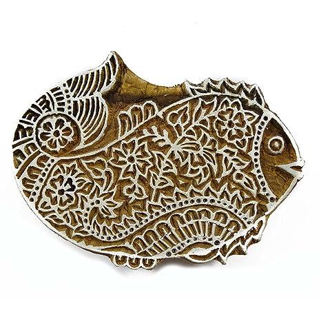 Braun Druckblock Hand Geschnitzt Aus Holz Fische Textildruck Stempel Blockdruck
