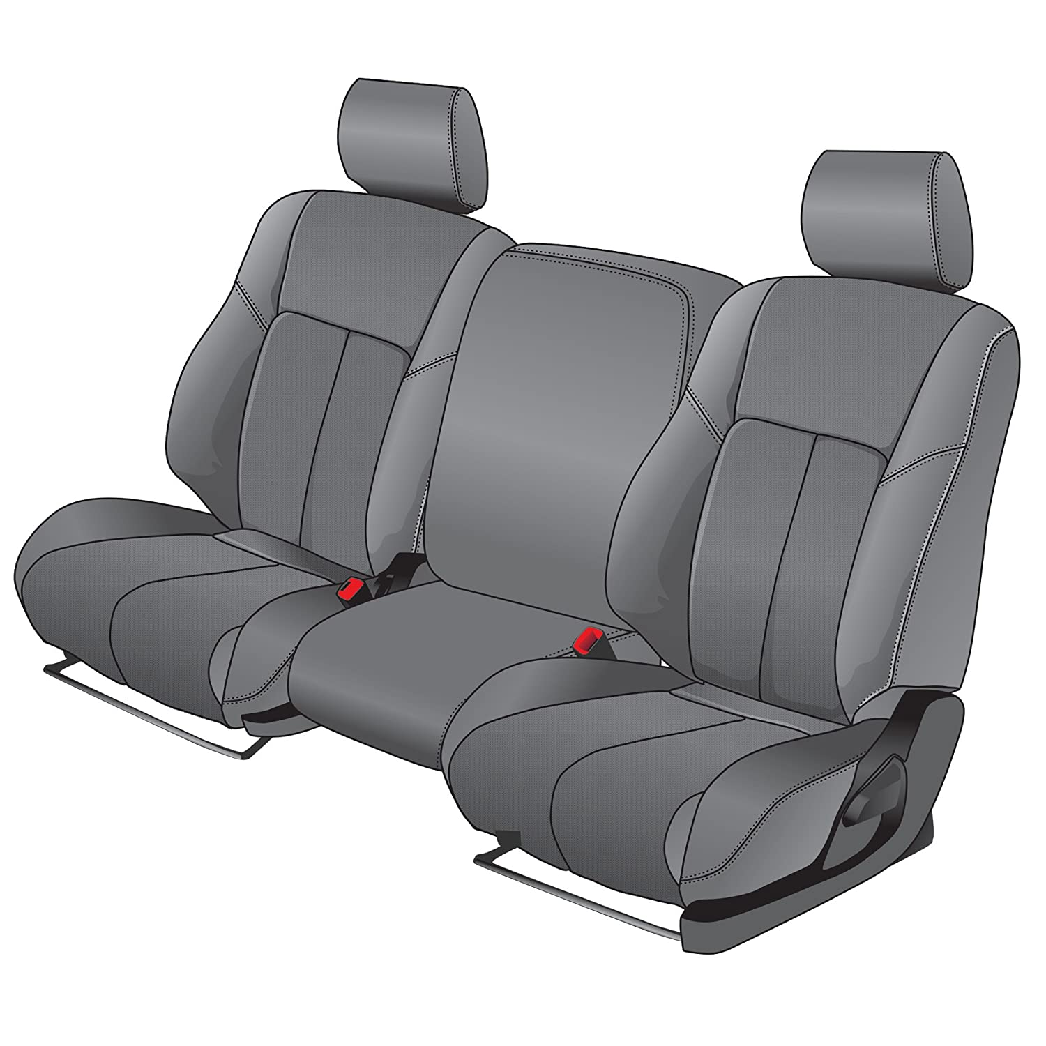 Clazzio 702421gry Grey Leather Front Row Seat Cover for Dodge Ram 2500//3500 Mega Cab