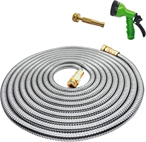 Yereen Stainless Steel Metal Garden Hose 100FT with Solid Brass Nozzle and 7 Function Spray Gun, Heavy Duty Outdoor Metal Water Hoses, Kink Free, Tangle Free, Flexible, Rust Proof