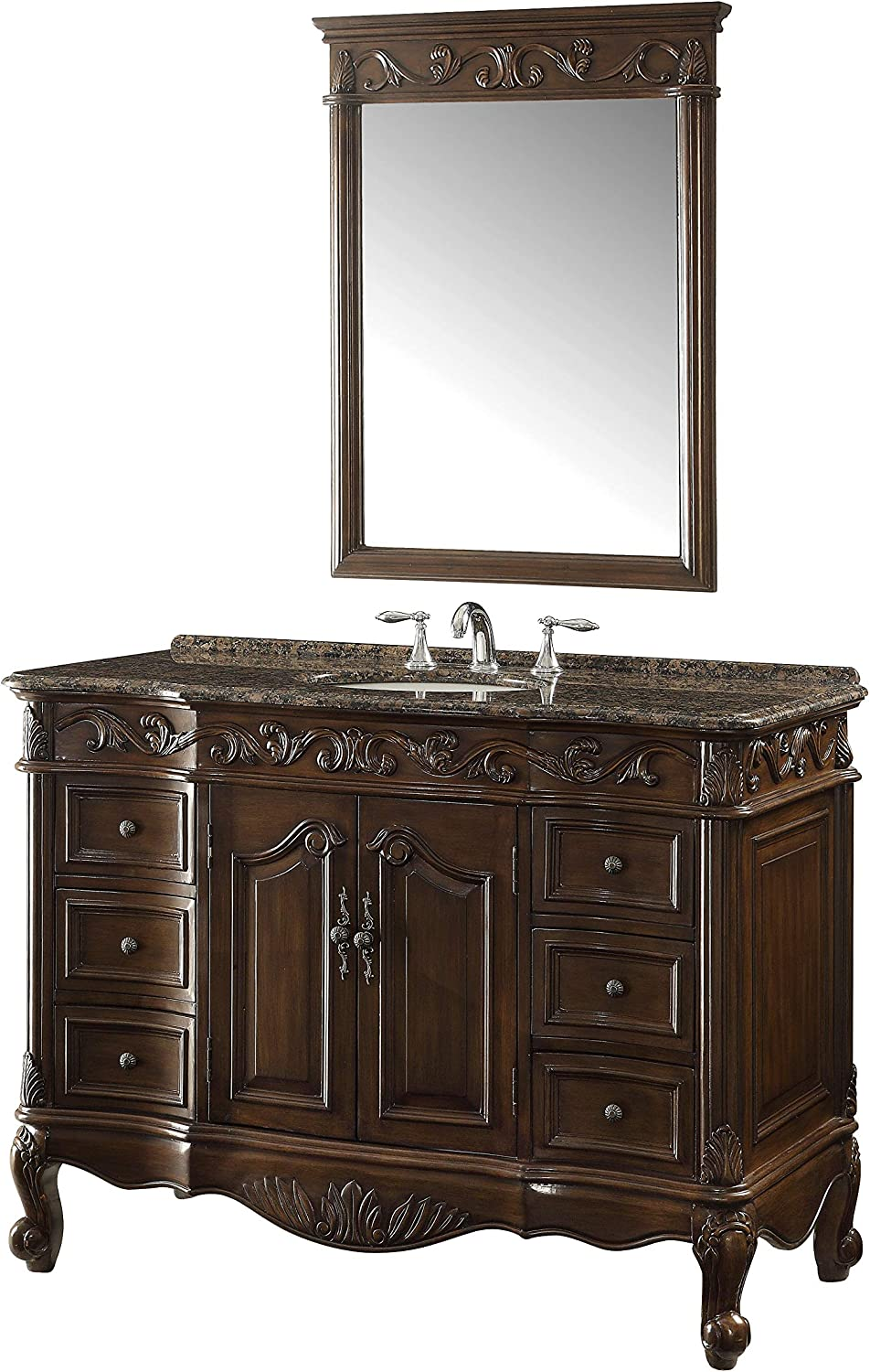42 Baltic Brown Granite Counter top Beckham Bathroom Sink Vanity Mirror Set SW-3882SB-TK-42 MR-3882