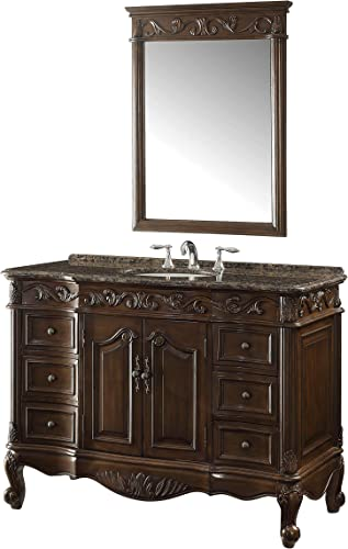 42″ Baltic Brown Granite Counter top Beckham Bathroom Sink Vanity Mirror Set SW-3882SB-TK-42/MR-3882