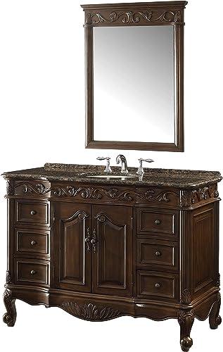 42″ Baltic Brown Granite Counter top Beckham Bathroom Sink Vanity Mirror Set SW-3882SB-TK-42/MR-3882