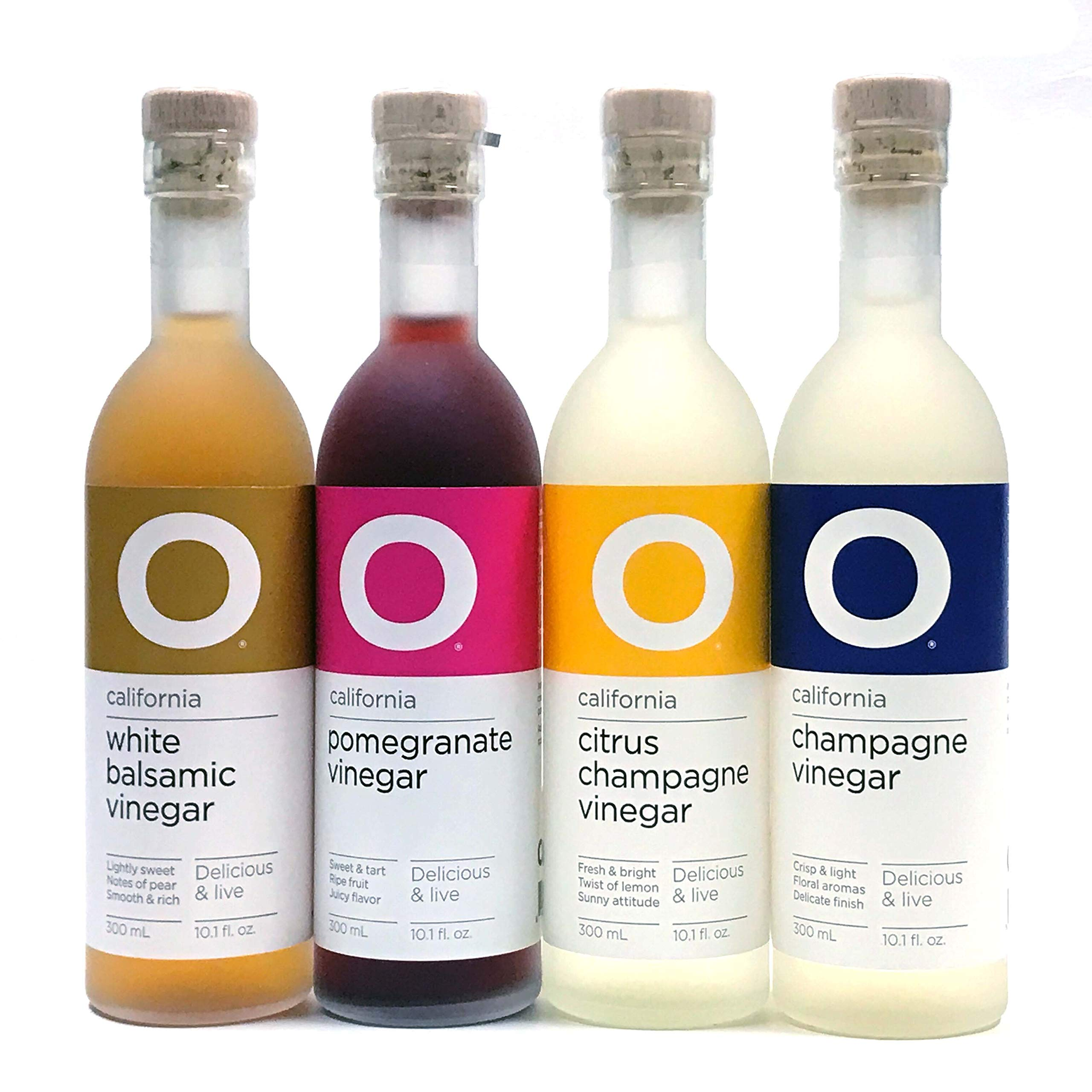 O Olive Oil Vinegar 4 Variety Pack - Citrus Champagne Vinegar, Pomegranate Vinegar, Champagne Vinegar, White Balsamic Vinegar by O Olive Oil