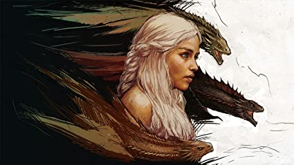 Amazon Com Game Of Thrones Khaleesi Painting Dragons Crossover