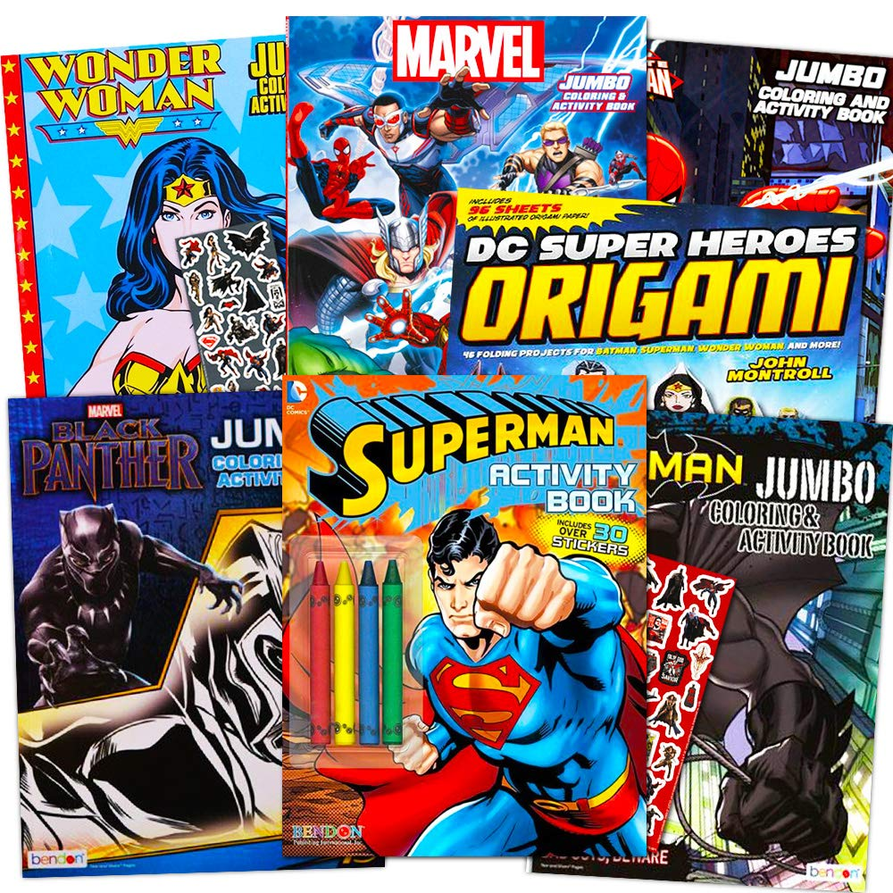 Superhero Giant Coloring Book Assortment 7 Books Featuring Avengers Justice League Batman Spiderman And More Includes Stickers