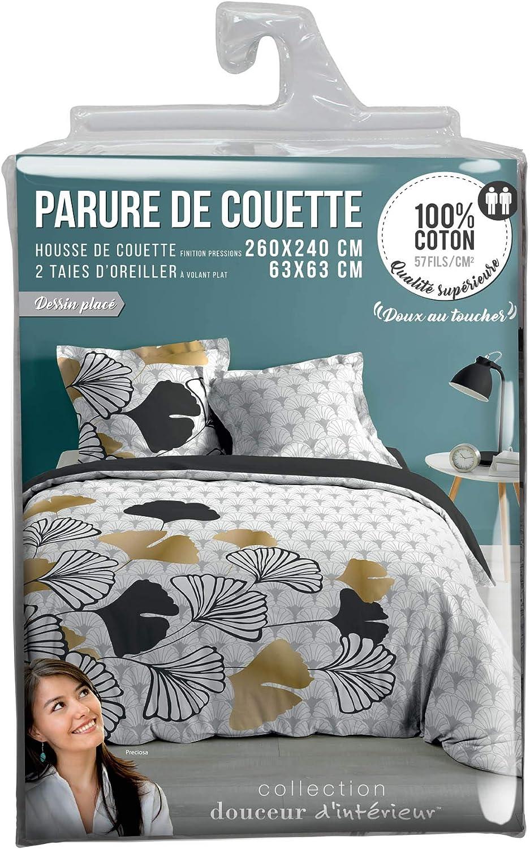 Douceur dInt/érieur DOUCEA Parure 3 PIECES 260 x 240 cm Imprime 42 Fils Dessin Coton