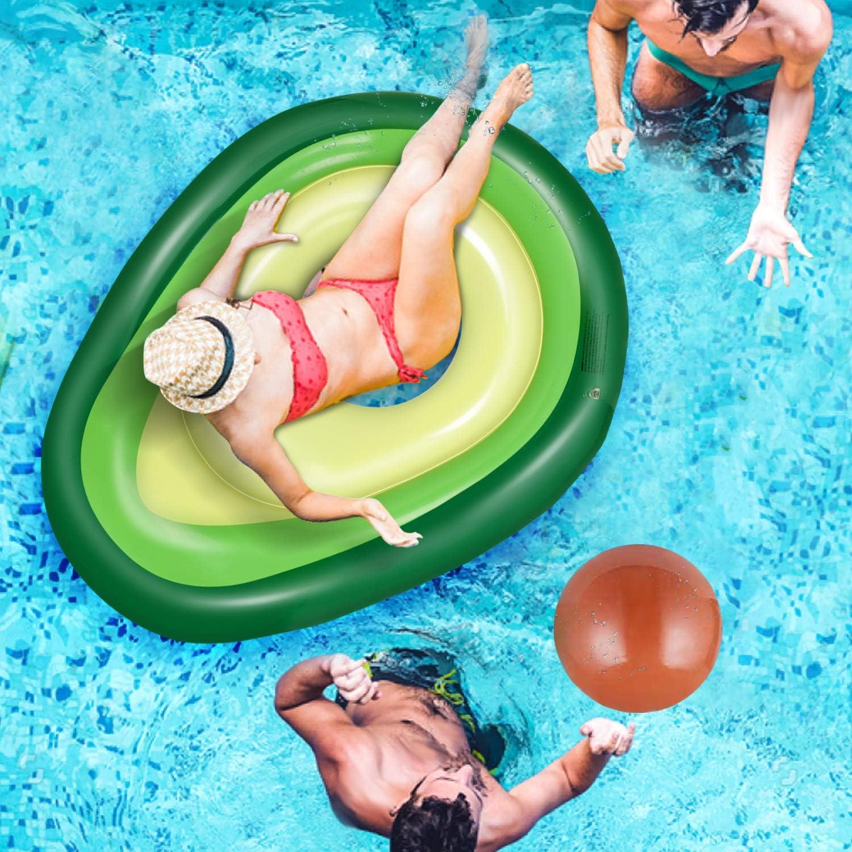 Jojoin Flotador Inflable del Aguacate, Asiento de Piscina con una Pelota Inflable para Jugar, Material de PVC de la Protección del Medio Ambiente, para Fiesta/Playa/Piscina/Verano - 160*125*36cm: Amazon.es: Juguetes y juegos