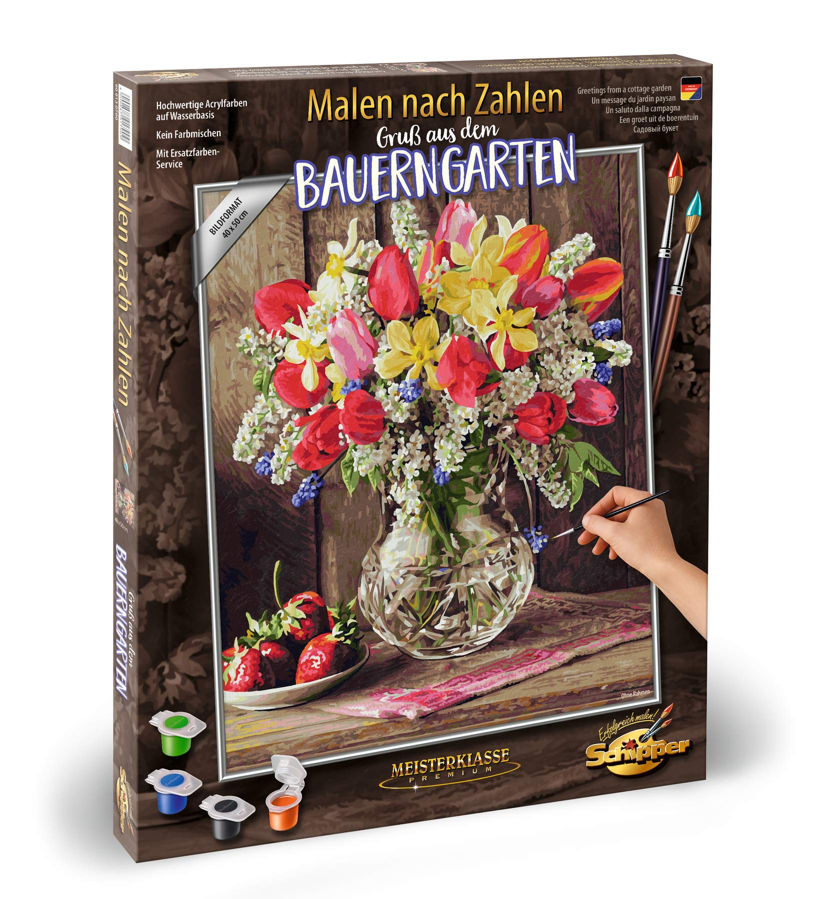 Noris Spiele Schipper Paint by Numbers - 609130790 A Greeting from The Cottage Garden, 40 x 50 cm Multi-Coloured by Noris Spiele
