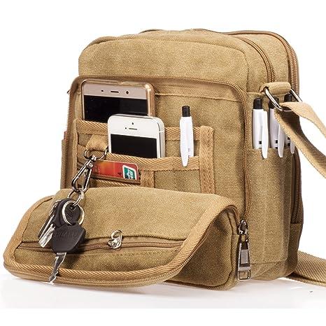 Outreo Borsa Tracolla Uomo Borse da Spalla di Tela Canvas Messenger Bag  Vintage Sacchetto di Tablet 848fd5dadc6