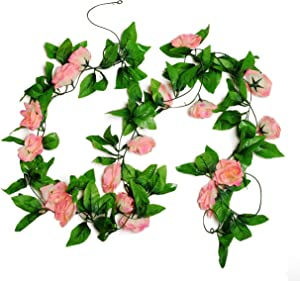 MagicZoo 2Pack(18 Rose Flowers) 15FT Artificial Rose Vine Silk Flower Garland Fake Hanging Rose Flower Plant for Home Office Garden Hotel Wedding Party Decor (2pc Pink)