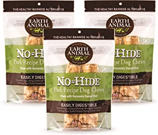 product image for Earth Animal Medium No-Hide Dog Chews, 3 2-Count Bags (6 Chews Total) - Made in The USA, Natural Rawhide Alternative Treats (Pork, Medium - 6 Chews)