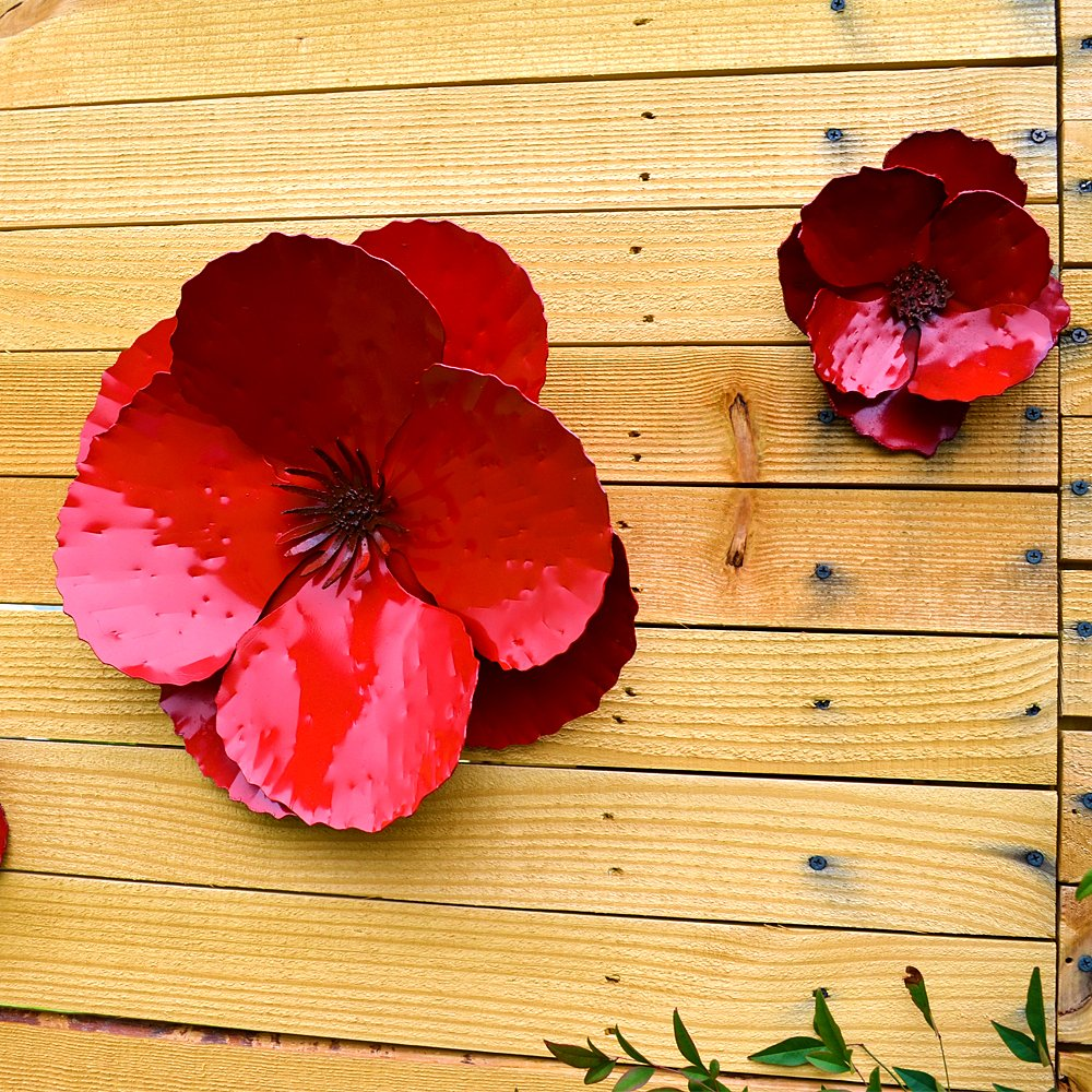 Amazon.com: Giant Wall Hanging Poppy Set of 3 Red Metal Flowers ...