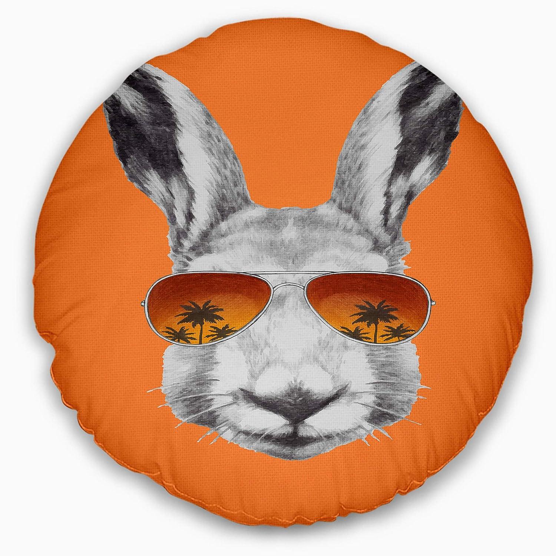 Designart CU13187-16-16-C Funny Rabbit with Sunglasses Animal Round Cushion Cover for Living Room Sofa Throw Pillow 16