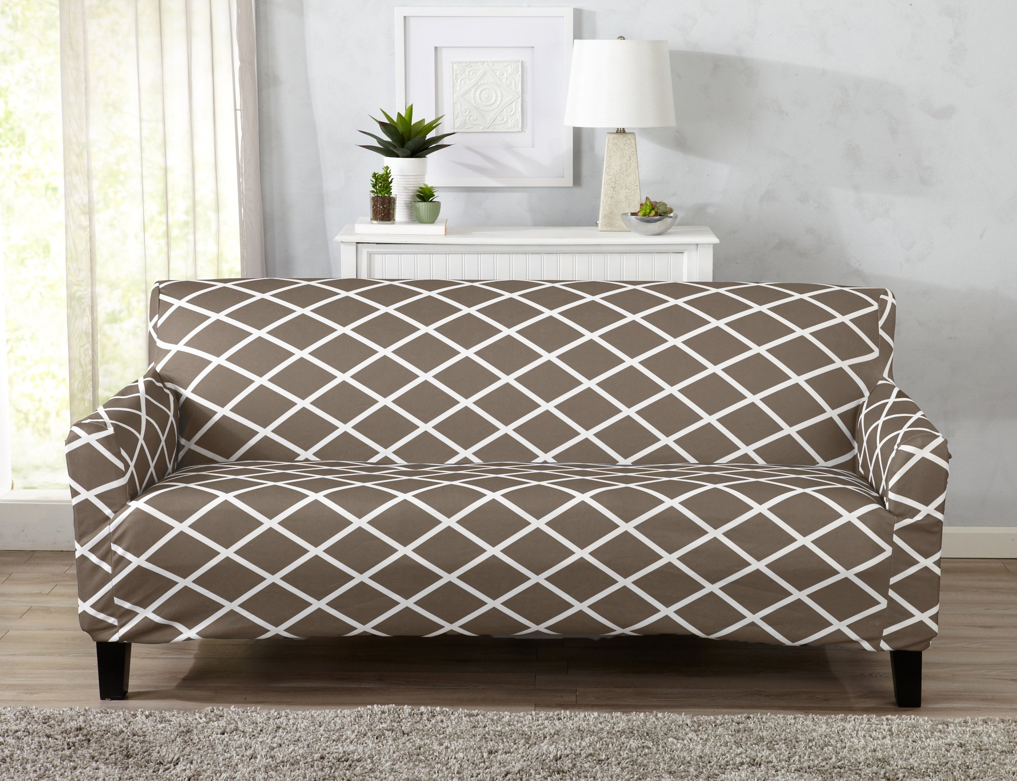 Great Bay Home Strapless Stretch Printed Slipcover Couch Cover, Stain and Spill Resistant. Tori Collection (Sofa - Mocha)