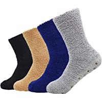 Bienvenu Men's 4 Pack Winter Thick Socks Warm Comfort Soft Fuzzy Floor Socks