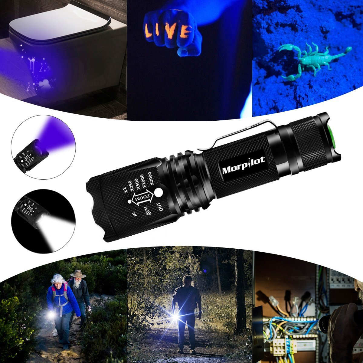 morpilot LED Torch UV Torch 2 in 1 Black Light Torches, 395nm UV Flashlights, Super Bright 500 Lumens LED Flashlight, 4 Modes Light Adjustable Focus, Aluminum Alloy Body, IPX4 Waterproof, Black