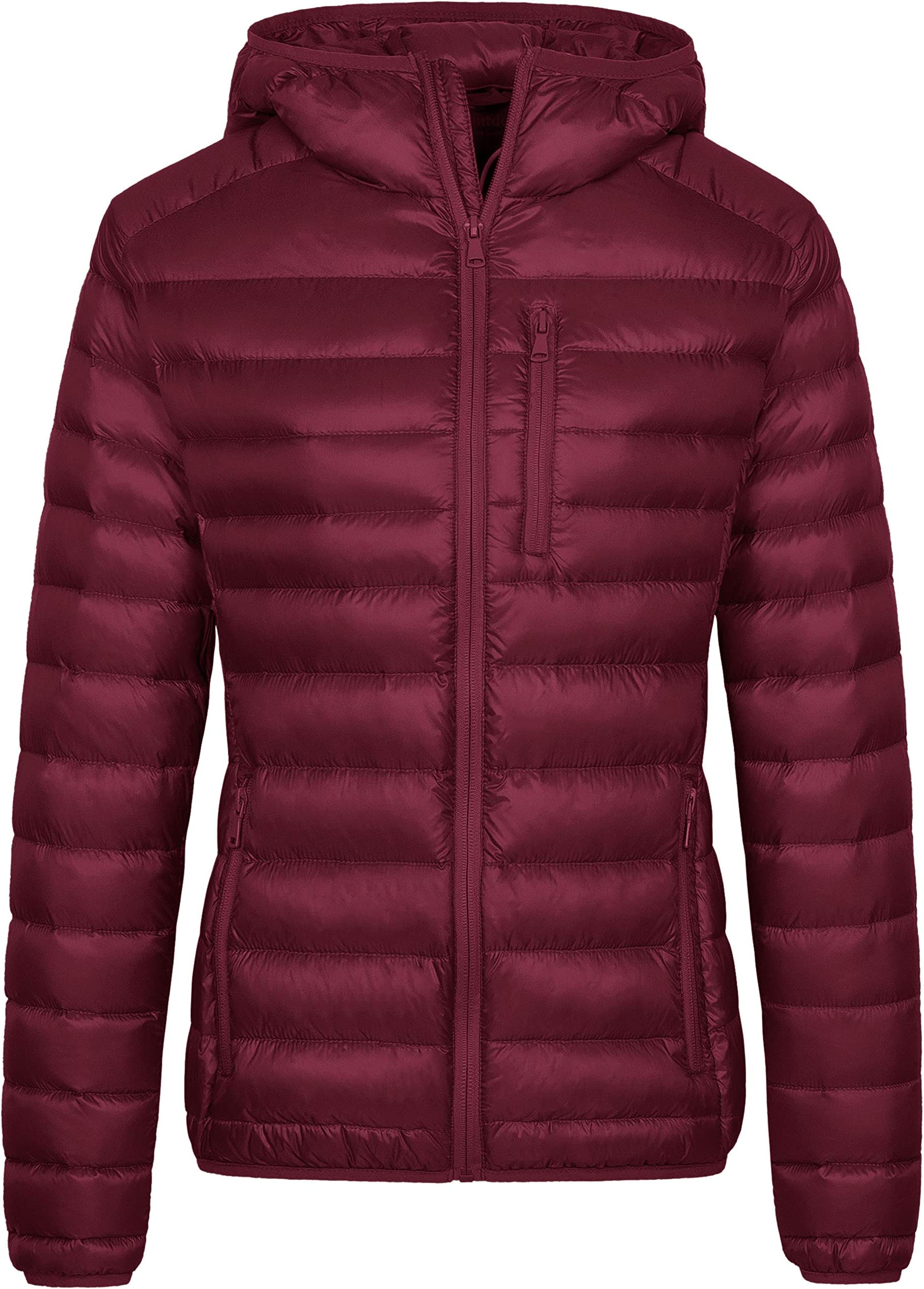 CRYYU Womens Casual Button Front Hooded Mid Long Puffer Down Coat