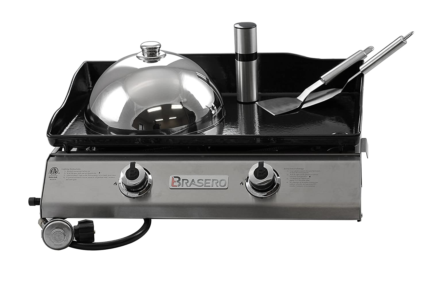 BraseroPortable 26 inch outdoor Flat top Gas griddle -2 burners-Stainless steel Body-Heavy duty Enameled Cast iron Griddle