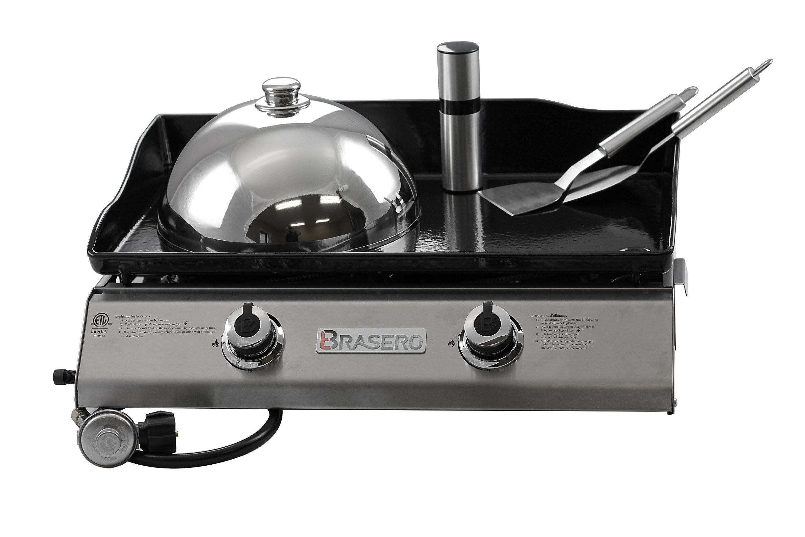 Brasero  Portable 26 inch outdoor Flat top Gas griddle -2 burners-Stainless steel Body-Heavy duty Enameled Cast iron Griddle by Brasero
