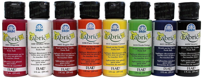 FolkArt Brush on Fabric Paint Beginner Set (2-Ounce), FAB8SET