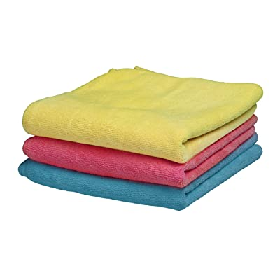 """Superio Ultra Microfiber Miracle Cloth 16"""" X 16"""" (3 Pack) - Red Blue and Yellow Micro Fiber Cloths: Automotive"""
