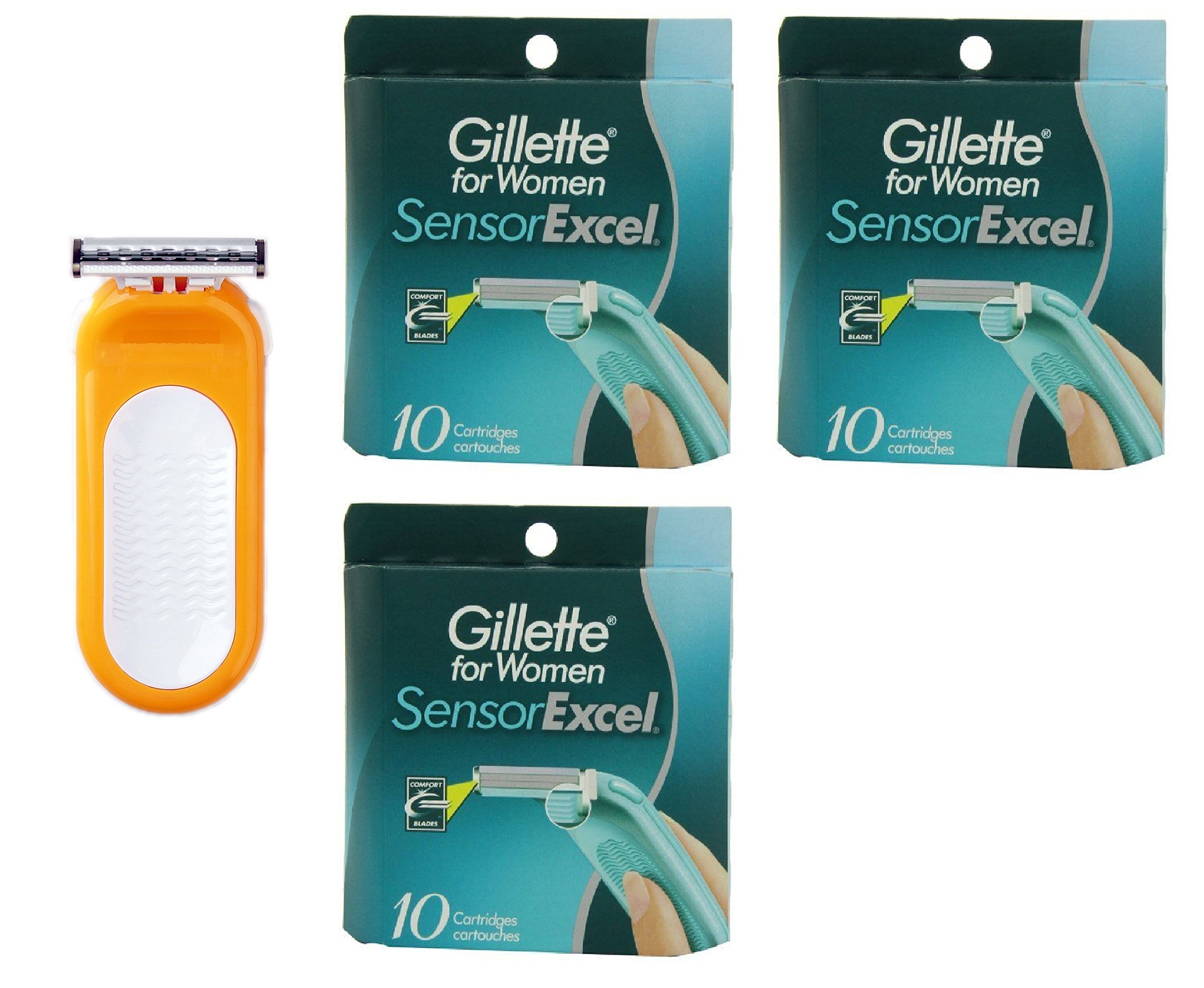 Compatible Razor fits with Sensor Excel for Women Refill Cartridges + Womens Sensor Excel 10 Ct. (3 Pack)