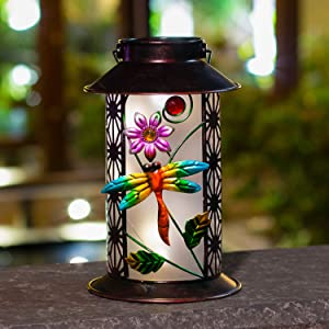 BOAER Garden Solar Lantern Lights Outdoor Hanging Dragonfly Retro Metal LED for Outdoor Table Patio