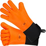 Silicone Oven Gloves - Great Heat Resistant Mitts Extra Long with Internal Cotton Lining for Cooking, Pot Holder, Grilling, BBQ, Baking And Smoking - Orange