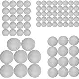Craft Styrofoam Balls (80 Pieces) for DIY Crafting and Decoration by My Toy House | 4 Sizes, White Color