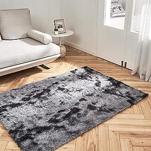 OhGeni Machine Washable 4x5.3 Feet Area Rug for Bedroom, Living Room, Dorm Room, Fluffy Soft Faux Fur Rugs Non-Slip Floor Carpet, Kids Nursery Modern Home Decor Black/Grey