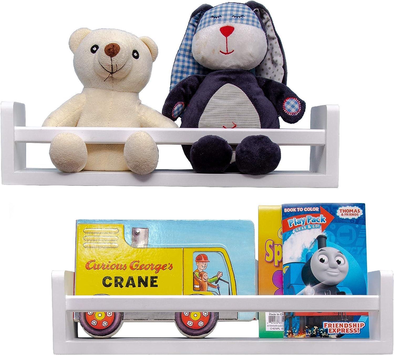 MASHBA Nursery Floating Shelf, Set of 2, White Wall Mounted Bookshelves for Organizing Books, Toy Storage, Knick Knacks, and Cute Home Decor