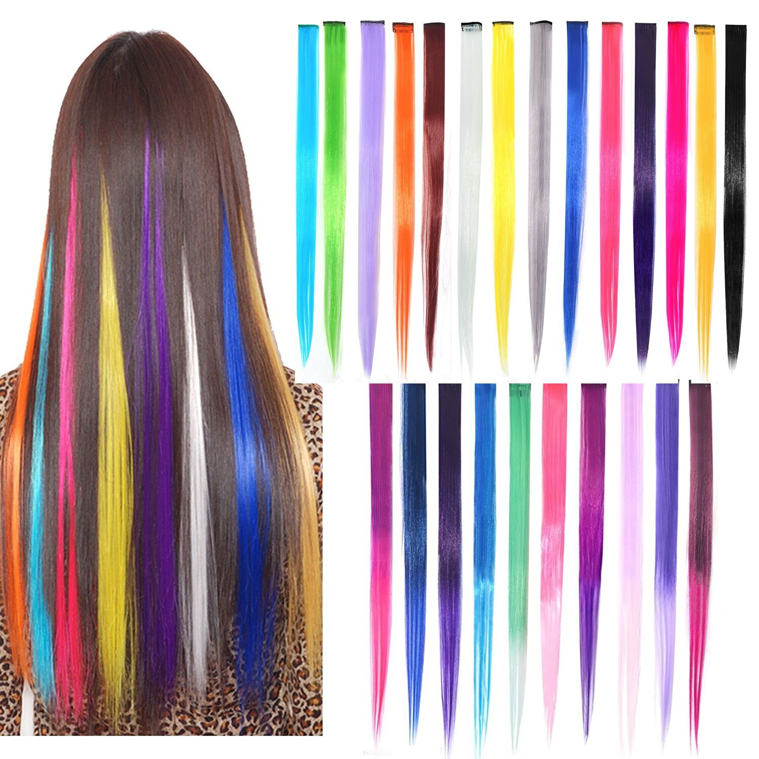 30pcs Clip in Hair Extensions 22 Gradient Color Straight and Curly Fashion Hairpieces Rainbow Hair Extensions, YSKF 30 Colors Party Highlights Colorful Clip In Synthetic Hair Extensions YSLF