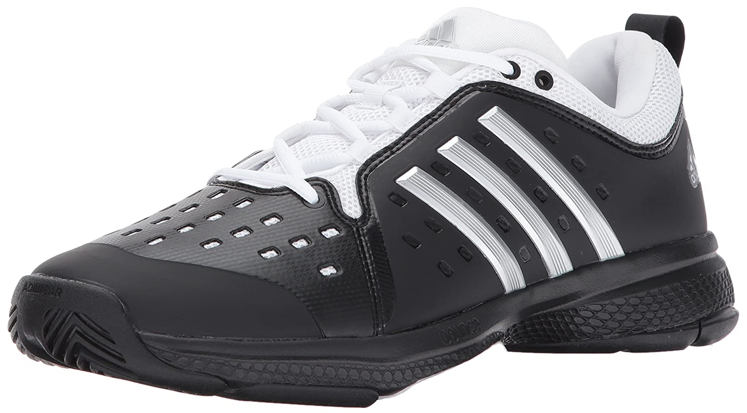 Core Black Metallic Silver White adidas Men's Barricade Classic Bounce Tennis shoes
