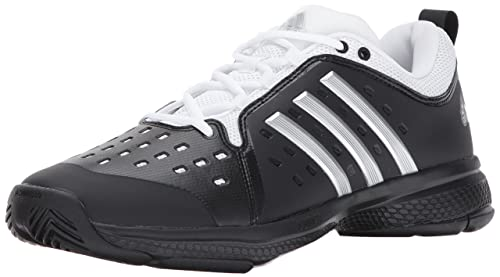 more photos 29ef7 4fe98 adidas Mens Barricade Classic Bounce Tennis Shoes, Core BlackMetallic  SilverWhite,
