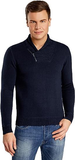 TALLA XXL. oodji Ultra Hombre Jersey con Cuello Vuelto y Cremallera Decorativa