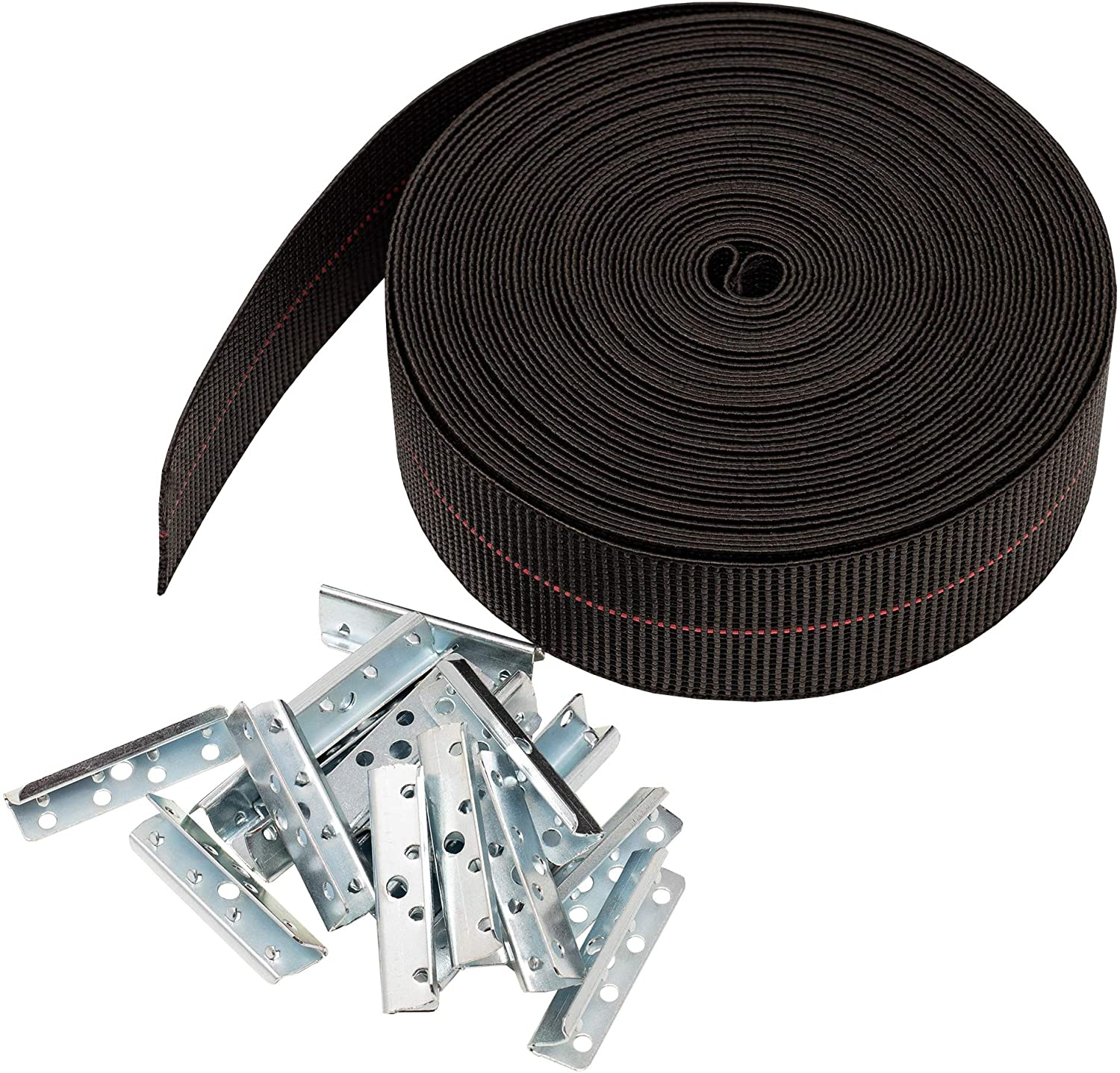 House2Home Elasbelt Webbing Kit, 2 Inch Wide x 40 Feet Long, Includes Metal End Clips and Installation Instructions