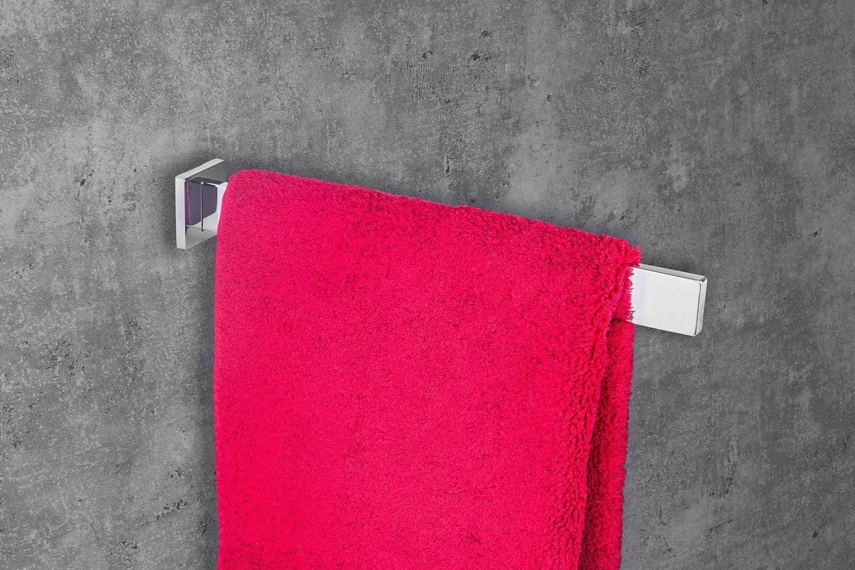 Badetuchhalter mit Befestigungsmaterial TOWEL Design Handtuch-Auszug Bad Handtuchstange ausziehbar 2-armig Handtuch-Reling f/ür die Wand-Montage 1 St/ück Wand-Handtuchhalter verchromt poliert