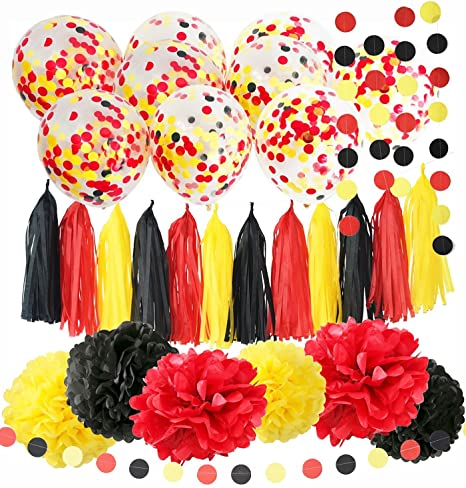 Mickey Mouse Birthday Decorations Color Party Supplies Yellow Black Red Confetti Ballons Tissue Paper