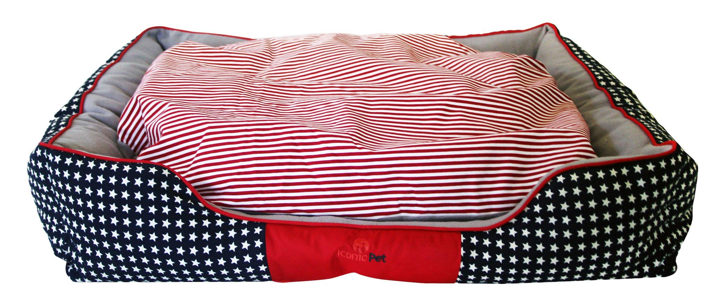 Iconic Pet Freedom Luxury Lounge Beds, Medium, Red/White/Blue