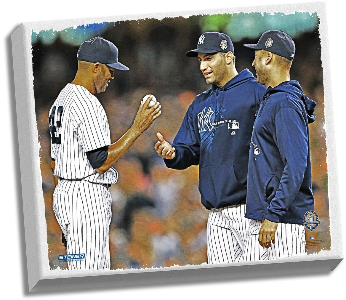 Mariano Rivera Final Game Tip Cap Stretched 22x26 Canvas