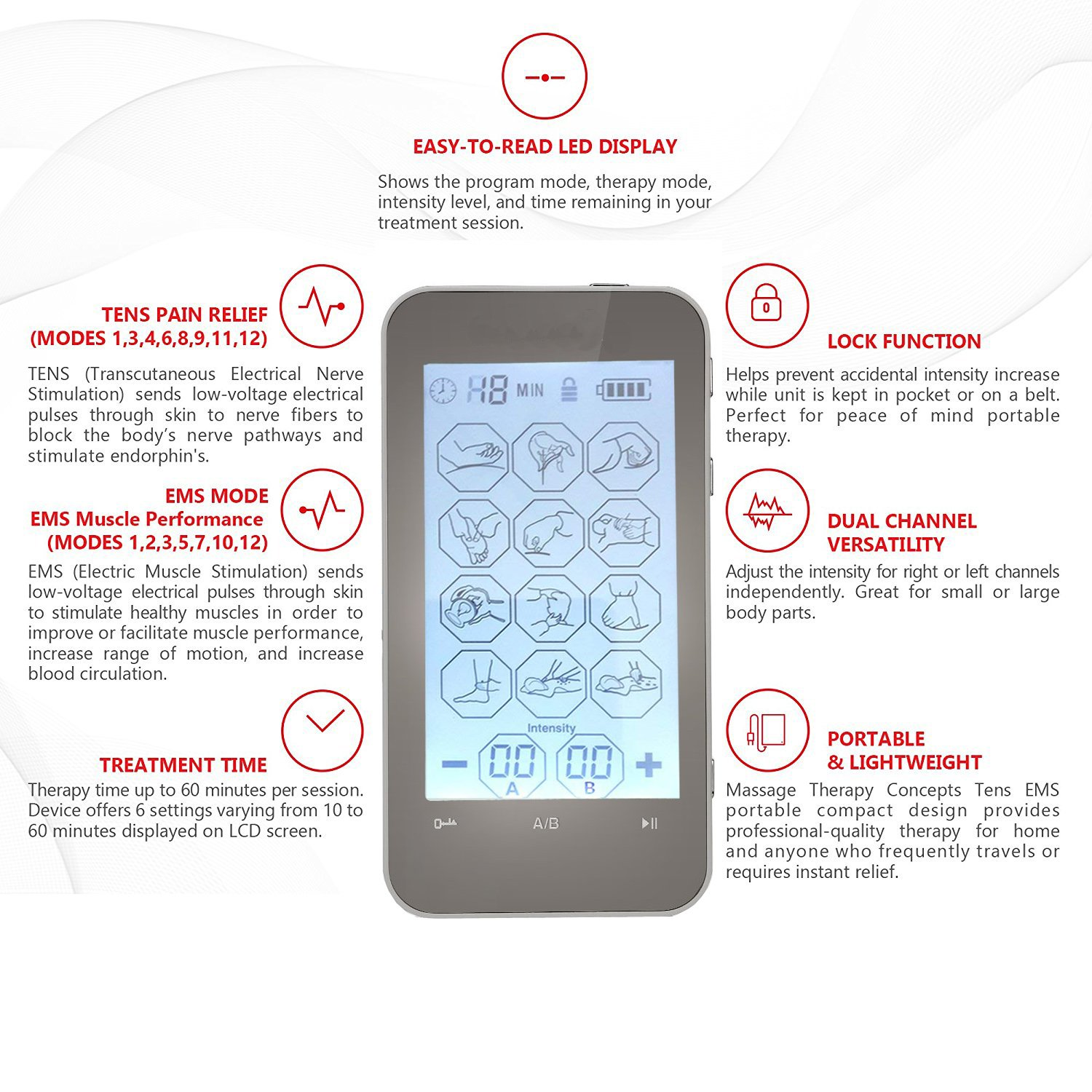 Rechargeable Tens EMS Unit with Touch Screen for Pain Management Rehabilitation with 12 Modes and 8 Pads Pulse Impulse Massager