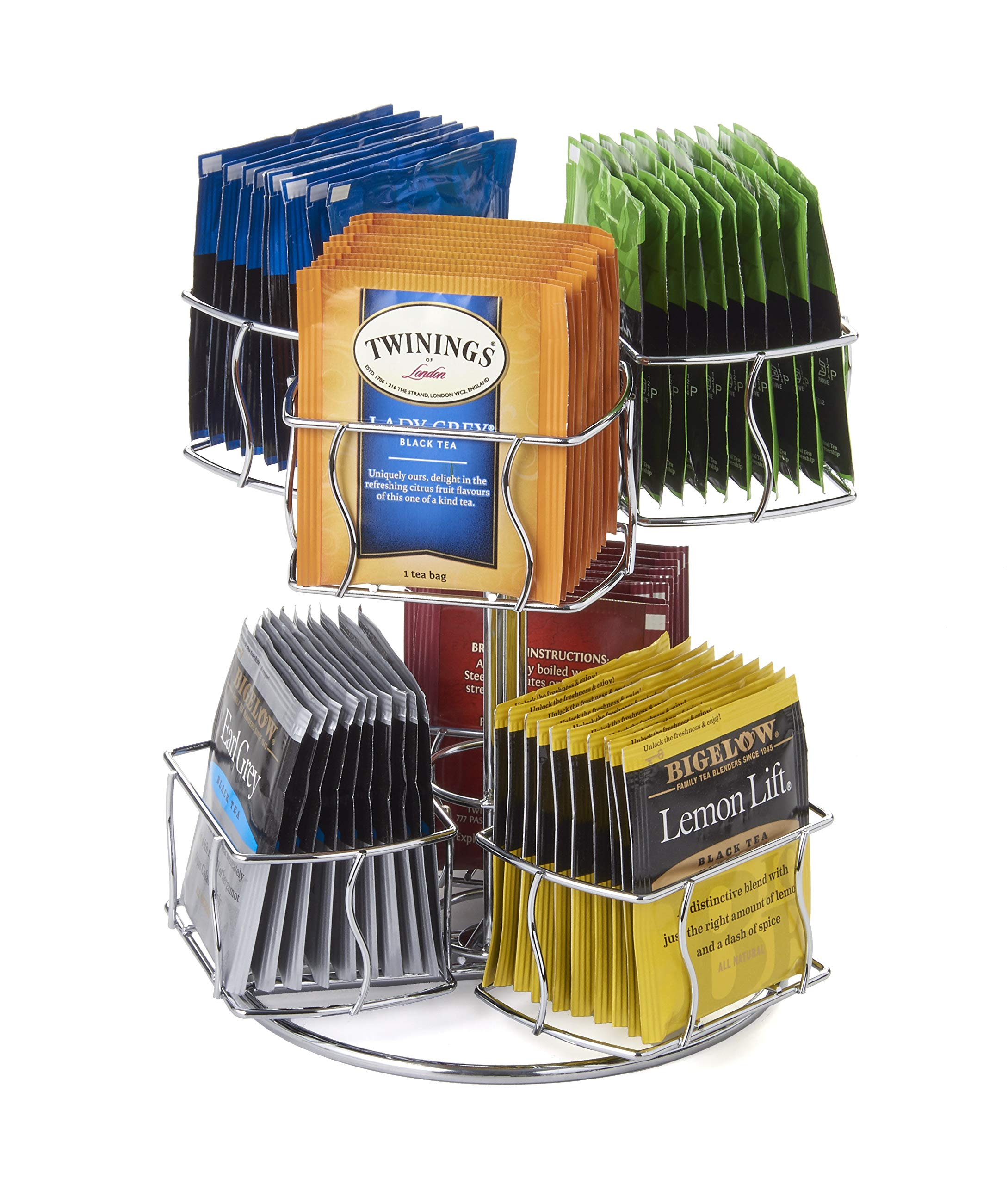 Nifty Solutions Tea Bag Storage and Organizer Spinning Carousel. Organize 60 Tea Bags. 6 Compartments 10 Tea Bags in Each. by NIFTY