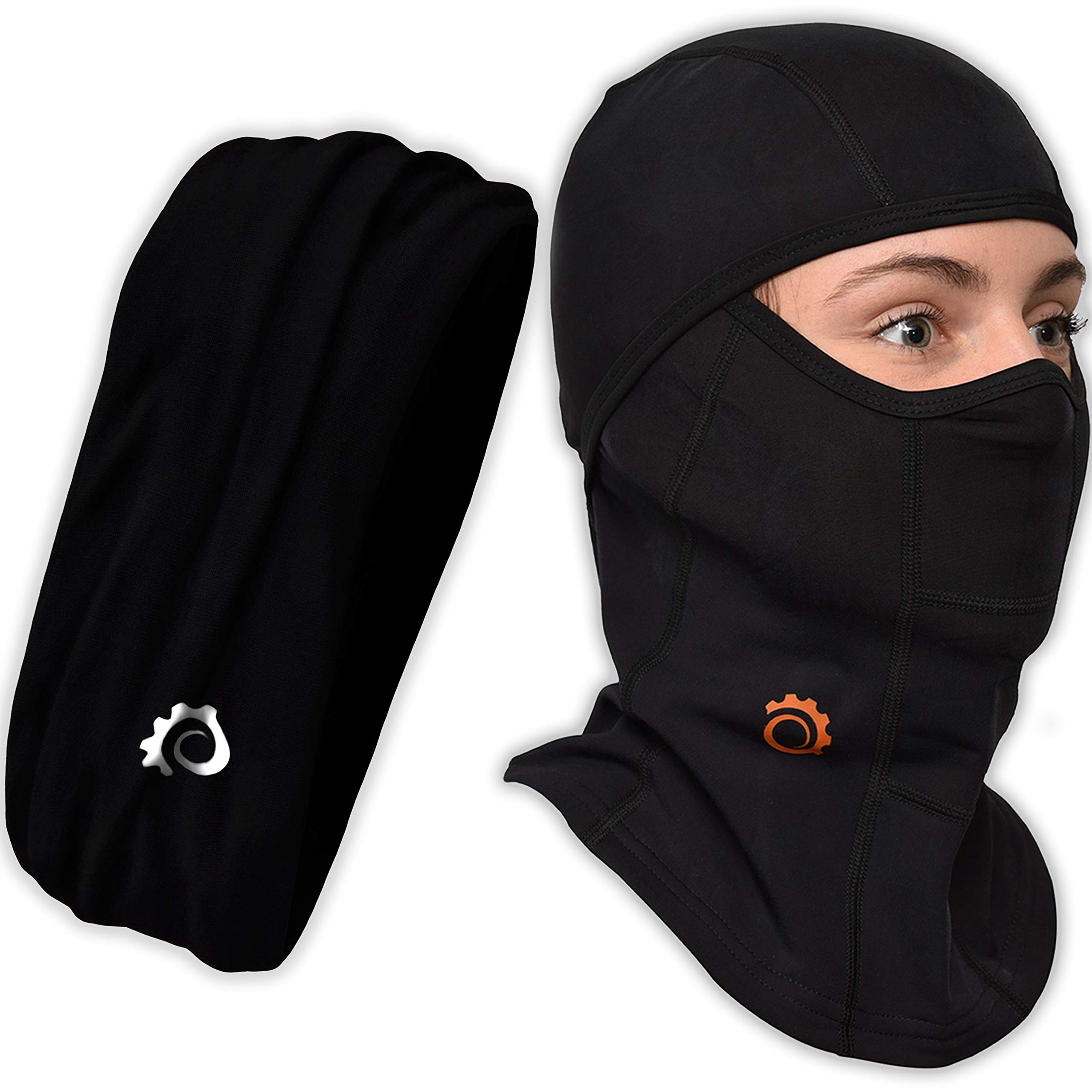 Face Mask Motorcycle Balaclava (Black + Black Headband)