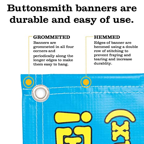Buttonsmith Custom Blue and Green Vinyl Banner 3'x2' - Indoor/Outdoor -  Personalize with Your Text - Designed, Printed, and Assembled in USA