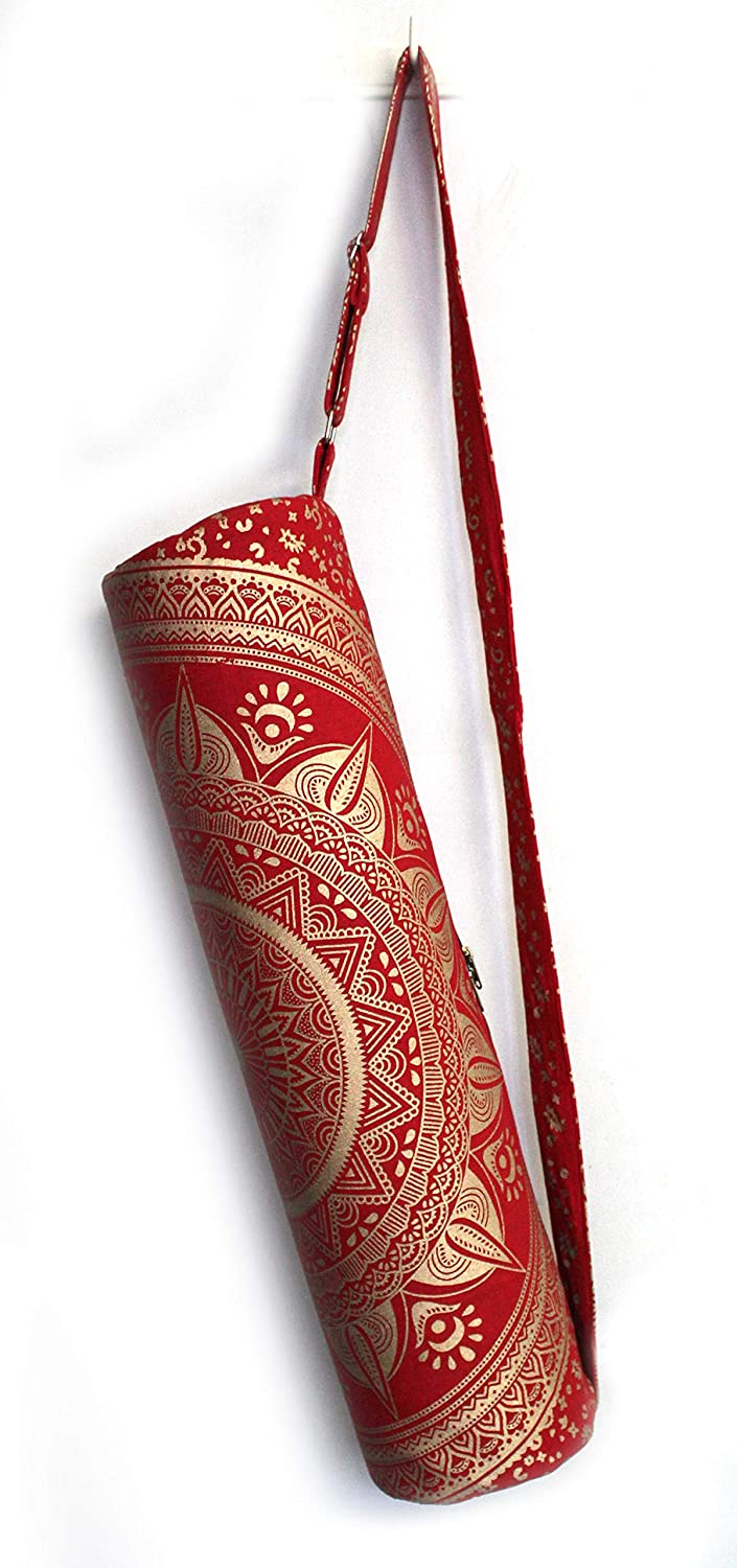 Indian Craft Castle Flower Hippie Yoga Mat Carrier Bag with Shoulder Strap Yoga Mat Bag Gym Bag Boho Beach Bag (red Gold Yoga Bag)