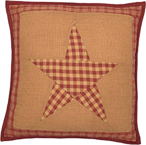 """VHC Brands Classic Country Primitive Pillows & Throws-Ninepatch Star Quilted 16"""" x 16"""" Pillow, Burgundy Red"""