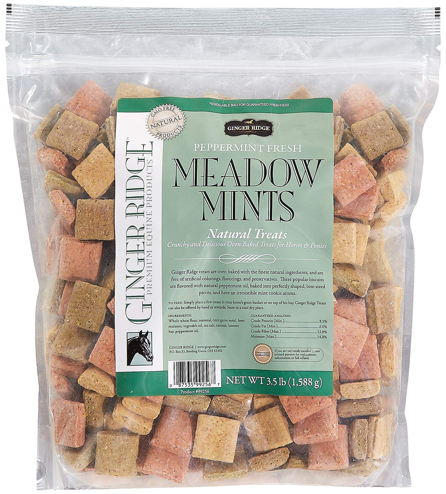 Ginger Ridge Meadow Mints Horse Treats - Peppermint Fresh, 3.5 Lb. Bag