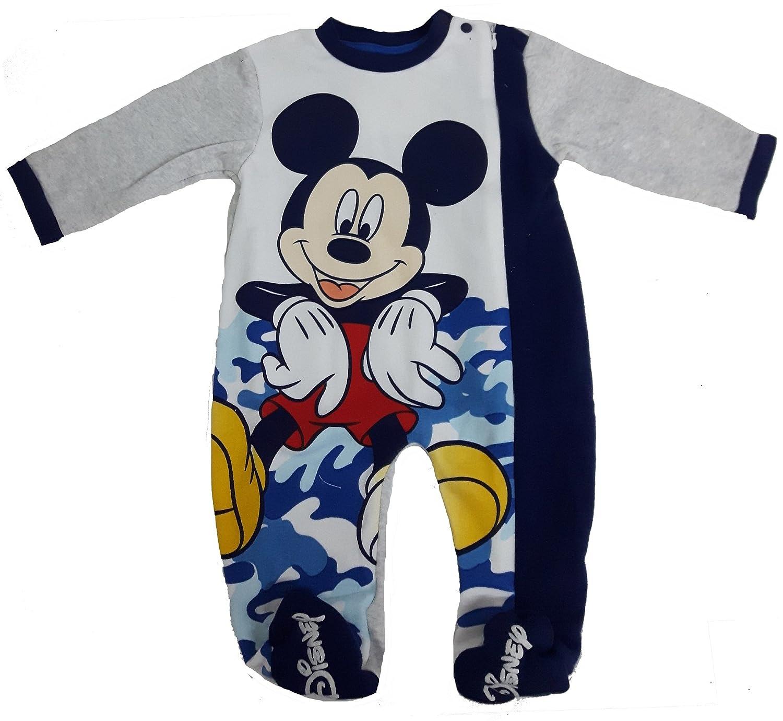 tutina con piedini TOPOLINO pigiamone caldo cotone con cerniera laterale neonato disney WD100980 24 mesi, grigio