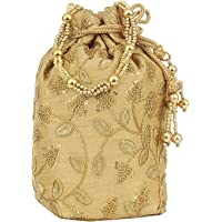 Bagaholics Ethnic Silk Clutch Potli Batwa Pouch Bag with Embroidery and Metal Bead work Gift For Women